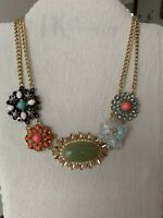 Plunder Design Fashion Vintage Jewelry Crystal Stone Gold Beaded Flower Necklace