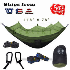 Double Outdoor Parachute Nylon Hammock with Mosquito Net Garden Green - X-Large