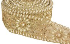Indian Hand Beaded Bridal Dress Border 9 YD Trim Ribbon Golden COLLECTIBLE EDH