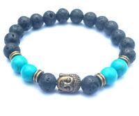 8mm Volcanic Turquoise Bracelet mala Healing Gemstone Sutra Unisex Bead energy