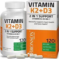 Bronson Vitamin K2 D3 Supplement Heart Health Gluten Free Vitamin K2 120 Caps.