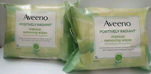 2 Aveeno Positively Radiant Oil-Free Makeup Removing Wipes, Moisturizer 25 Wipes