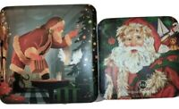 Vintage 2 Tins Christmas Santa J&M Decoration Goody Storage Holiday Table Decor