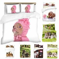 3D Puppies Theme Photo Print Duvet Quilt Cover With Pillowcases Bedding Set