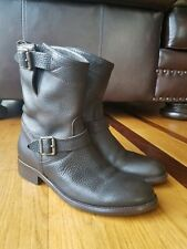 Belstaff Women's Brown Pebbled Leather Short Motorcycle Boot Sz US 5.5/ Eur 35.5