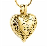 Always in My Heart Gold Silver Memorial Ashes Urn Holder Locket Necklace Pendant