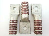 """Lot of 3 Burndy YA34-T8 500 KCMIL .56"""" Stud Long Barrel Crimp Lugs"""