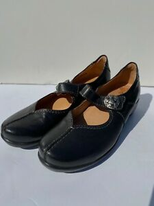 Sanita 38 Trude Clog Shoes US 7 -7.5 Mary Jane Solid Black Leather Silver Button