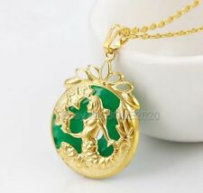 Green Jade Inlay 24K Gold Carved Nude Beauty Mermaid Pendant + Chain Necklace