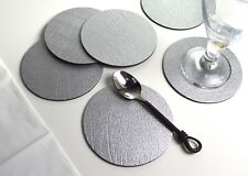 Set 4 of AUTUMN WINE Leather ROUND COASTERS Drinks Mug Glass Mats MADE IN UK