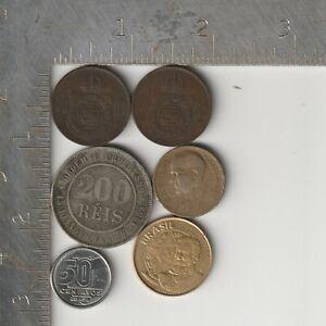 Brazil Qty 6 coin lot dated 1869-2000 Centavos Reis Brazilian Cruzados Reais