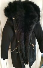 River Island black fur trim long line parka coat size 8 Brand new