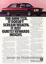 1983 BMW 7-Series 733i E23 - Wealth Original Advertisement Print Art Car Ad J707
