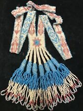 Antique Native American Indian Hand Beaded Glass Lariat Necklace