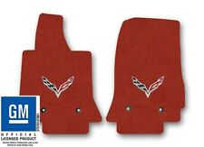 Chevrolet Corvette C7 Carpet Floor Mat 2pc Set with C7 Flags Logo-Adrenaline Red