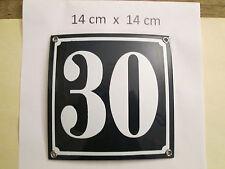 Hausnummer Nr. 30 weisse Zahl auf blauem Hintergrund 14 cm x 14 cm Emaille