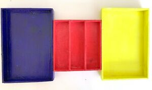 Recycled storage wooden set of 3 boxes organizer decorative red blue neon boxes