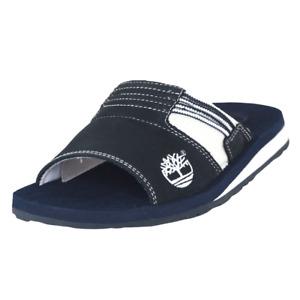 Timberland Athletic Slide 4 Mens Sandals Blue Leather 38060 Sports Flip Flops