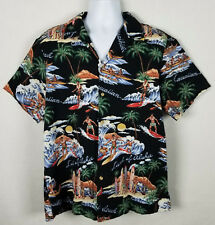 RJC Hawaiian Shirt Men's Sz L Short Sleeve Button Front Surfing Canoe Aloha Surf