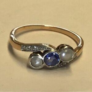 Hist. Diamant Ring 6 Rosendiamanten 585er Gold mit Saphir 4,5mm Perlen RW18,5mm