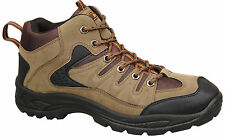 Mens Brand New Khaki Brown Lace Up Hiking Walking Boots Size 6 7 8 9 10 11 12