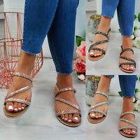 New Womens Flat Sandals Strappy Diamante Comfy Ankle Strap Holiday Ladies Shoes