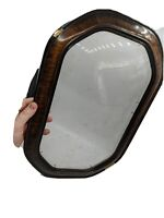 ANTIQUE GESSO PICTURE FRAME CONVEX GLASS OVAL FAUX TIGER WOOD VTG 15x9.5, 19x12