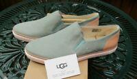 Ladies UGG Shoes Adley Aloe Vera Leather Slip On Flats UK 7.5 RRP £90 BNIB