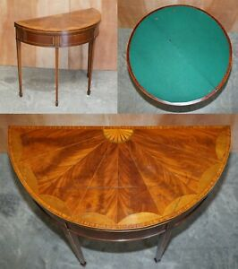UNRESTORED SHERATON SATINWOOD & BURR WALNUT DEMI LUNE CARDS GAMES CONSOLE TABLE