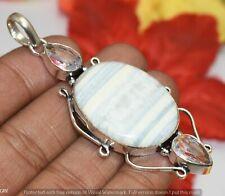 Gemstone Silver Plated Pendant U320-B170 Natural Banded Agate & Clear Quartz