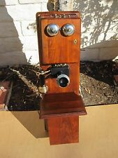 Antique Vintage Stromberg - Carlson Walnut Wood Double Box Wall Crank Old Phone