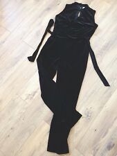 M&S Per Una Black Velour Jumpsuit 12 UK Sleeveless Party Velvety Stretchy Belted