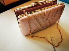 Clutch with Chain Strap Brand New Roland Cartier Pink Glitter & Diamante