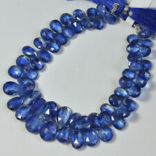 "Gem LARGE Kyanite Faceted Pear Briolette Beads 8.5"" Strand"