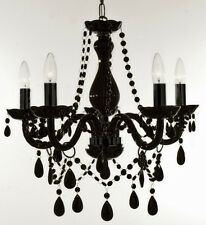 CRYSTAL CHANDELIER LIGHTING BLACK 5 LIGHTS FIXTURE PENDANT CEILING LAMP LIGHTING