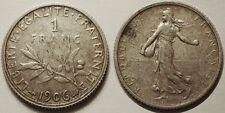 1 Franc Semeuse argent 1906, TTB, Assez rare !!