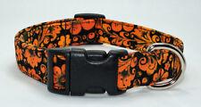 Floral Orange & Black Autumn Fall Dog Collar Adjustable Handmade Custom Designer