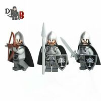 Lord of the rings Gondor Soldiers 3 Minifigures. Made using LEGO parts.