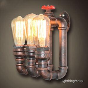 Vintage Rust Metal Water Pipe 2/3 Bare Bulbs Creative Wall Lights Fixtures Loft