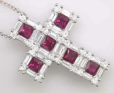 2.95ct Diamond and Ruby Cross, in 18ct White Gold, with Chain