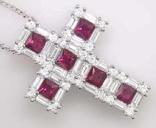 2.95ct Diamante e Rubino, croce in oro bianco 18ct, con catena