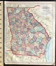 Authentic 1889 Color Map  FLORIDA & GEORGIA  Vintage Rare 2-Sided Large Detailed