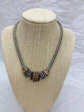 Beautiful Artisan Studio  sterling 925 Modernist Woven Carnelian Stone necklace