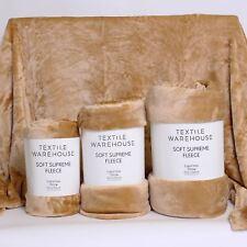 Textile Warehouse Super Soft Large Sofa Bed Faux Fur Mink Fleece Blanket Throw Gold King