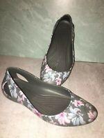 Crocs Sienna Floral gray grey pink Sandal Shoe Sz Wm 7 slip on