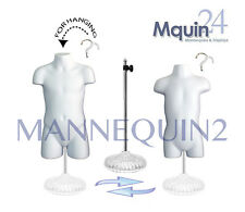 KID'S MANNEQUIN TORSO SET -WHITE CHILD & TODDLER BODY FORMS +2 HANGERS + 1 STAND
