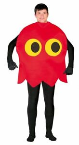 Adult Pac-Man Ghost Costume Retro 80s Fancy Dress Outfit