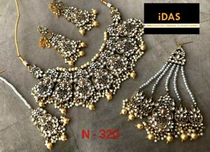 Indian Bollywood Kundan Gold Tone Necklace Earrings Tikka Passa Jewelry Set JC