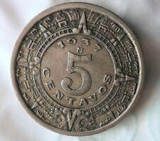 1937 MEXICO 5 CENTAVOS - Mayan Calendar - Great Coin - FREE SHIP - Mexico Bin #3
