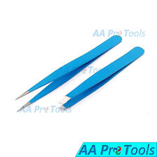 Professional Beauty Eyebrow Tweezers Slanted & Pointed Tips Hair Remover SkyBlue